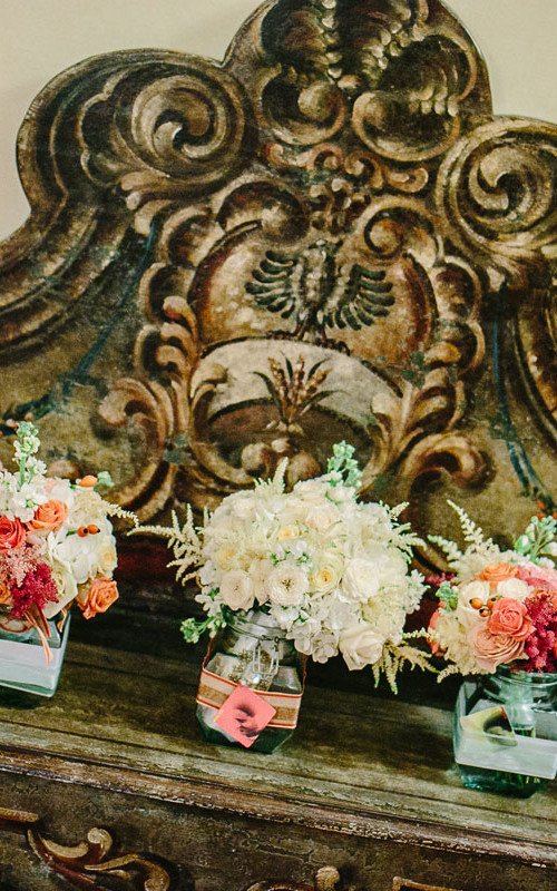 Exquisite mint coral vintage wedding at Vincigliata Castle