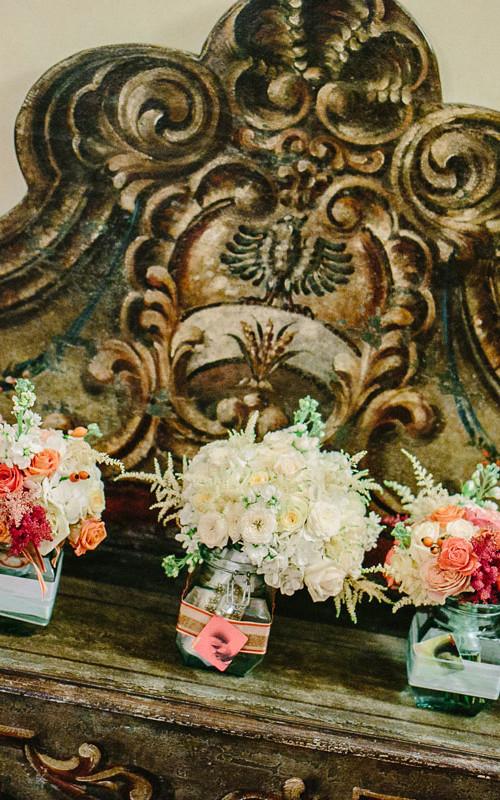 Exquisite mint coral vintage wedding at Vincigliata Castle