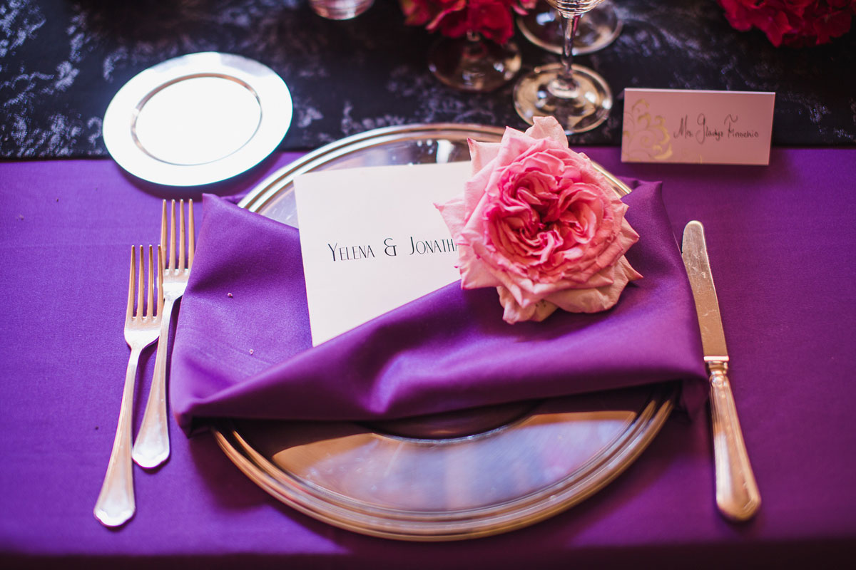 black and purple ombre place setting