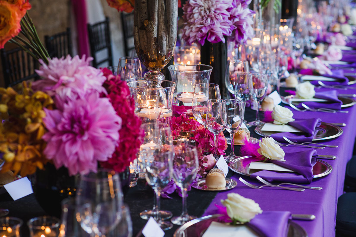 ultra-violet wedding reception