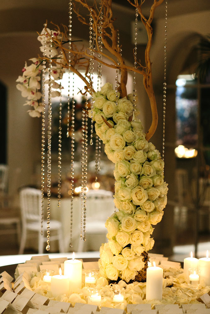 white opulent escort table