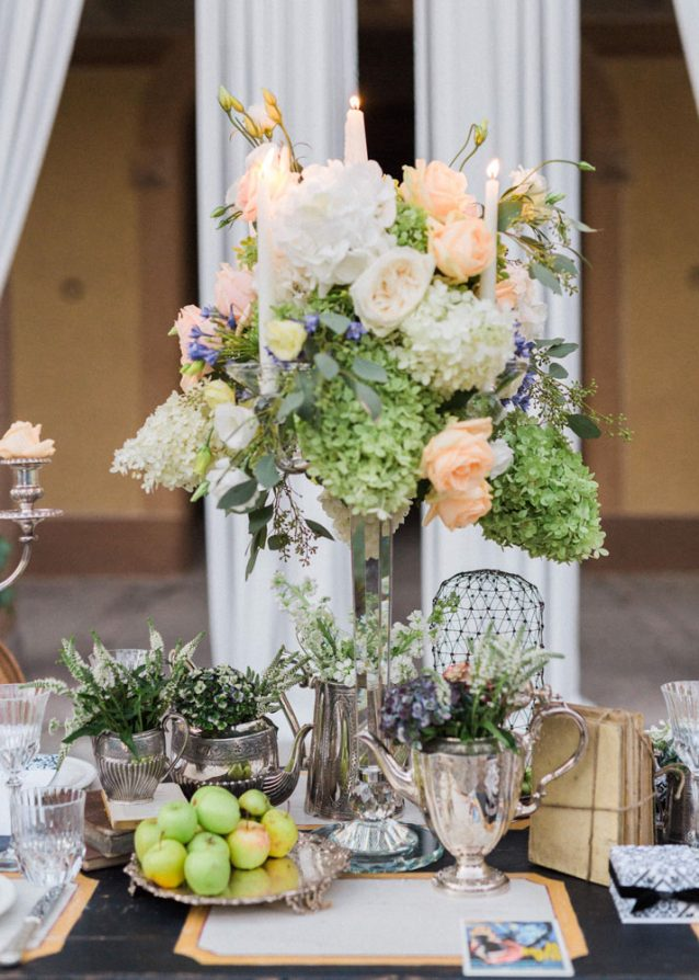 flowers and seasonal fruits wedding decor