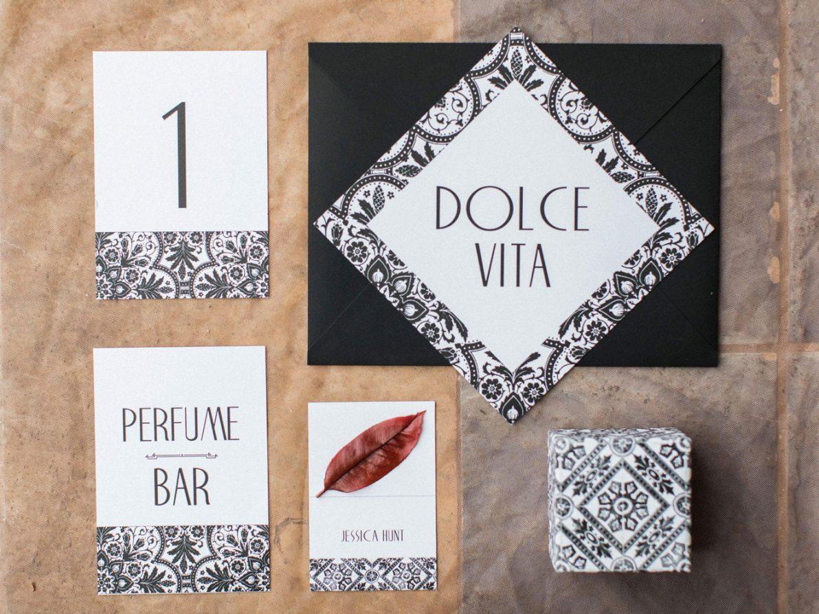dolce vita white and black stationery
