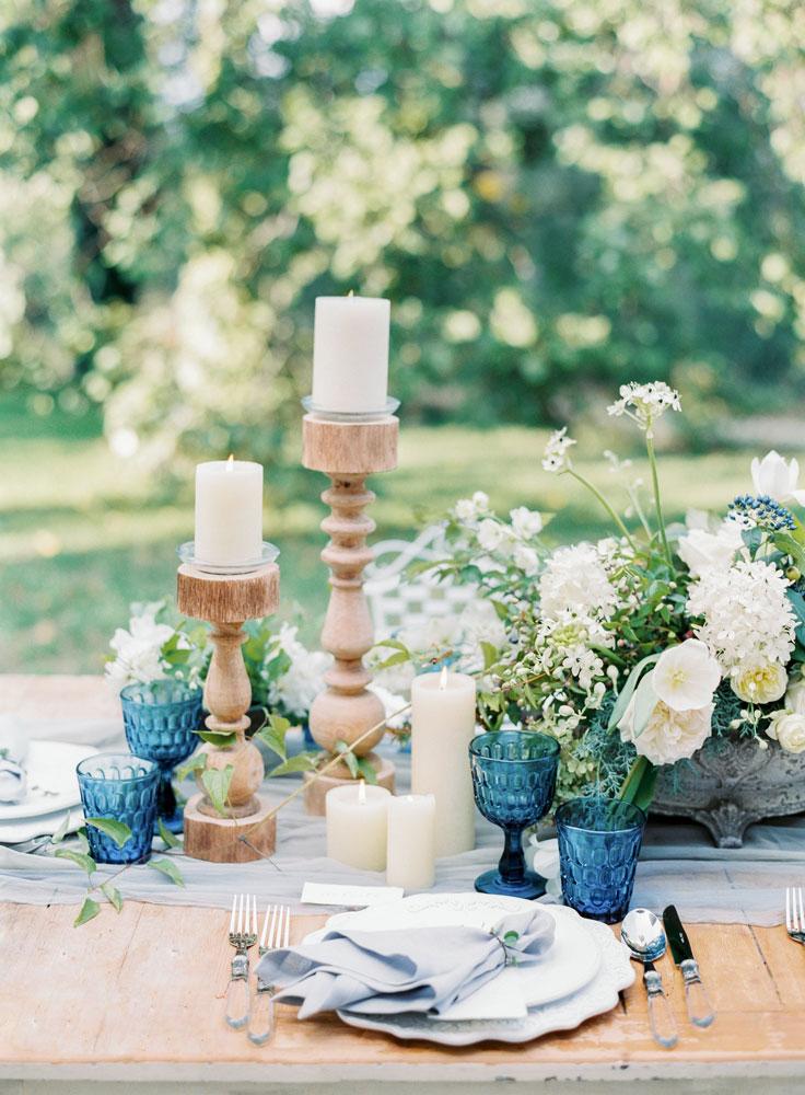 wood candleholder dusty blue table decor