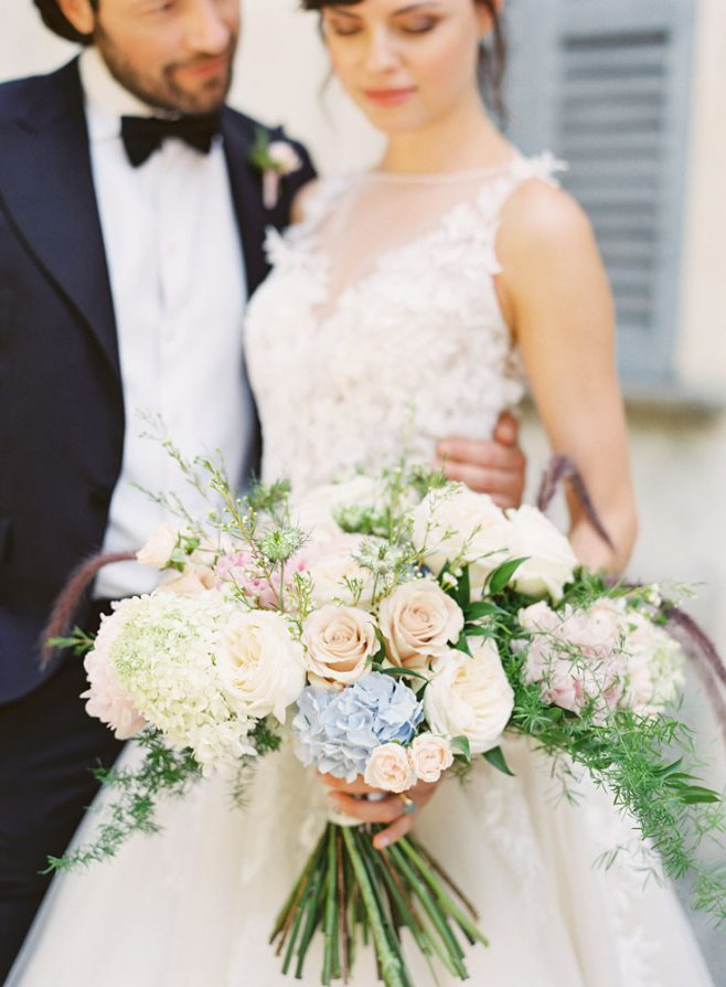 blush light blue accent bridal bouquet