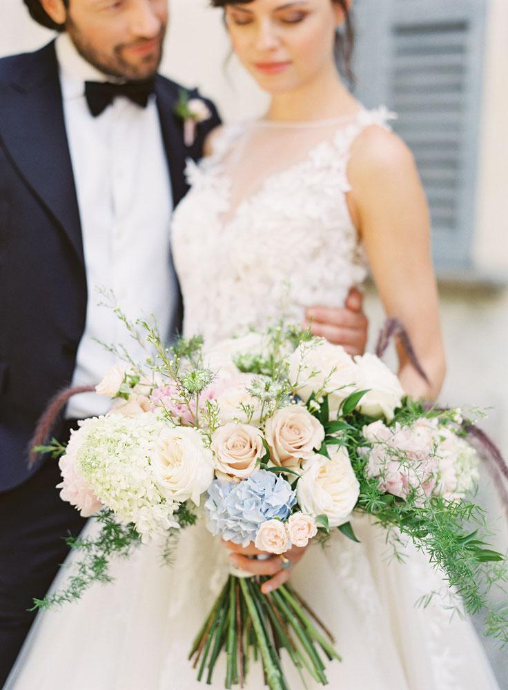 blush light blue accent bridal bouquet