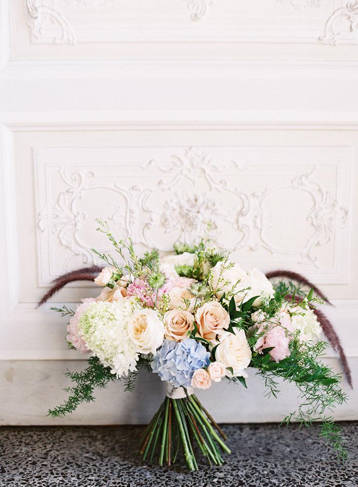 blush light blue bridal bouquet